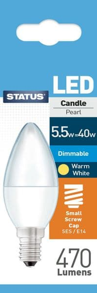 Dimmable LED Candle Bulbs E14 SES 5.5W (40W) Watt Warm White Frosted Bulbs x 3